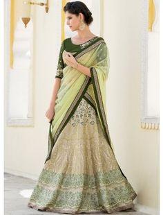 Green & Beige Designer Lehenga Choli