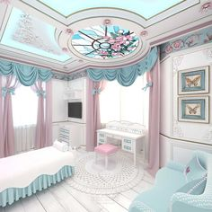 This unique themed bed invokes the romantic feeling of a hot air balloon ride and can be customized to fit both boys and girls bedroom designs Dream Rooms, Dream Bedroom, Home Bedroom, Bedroom Decor, Luxury Rooms, Luxurious Bedrooms, Girl Bedroom Designs, Girls Bedroom, Baby Bedroom