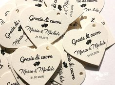 100 Heart Tag_Thank You Tag_ Grazie Etichette a Cuore_Merci Coeur Etichette_Wedding Place Card _ Personalized Tag_Personalized Wedding Favor Wedding Pins, Wedding Place Cards, Wedding Stuff, Wedding Ideas, Personalized Wedding Favors, Wedding Favours, Wedding Giveaways, Thank You Tags, Unique Jewelry