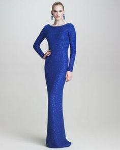 Oscar de la Renta Sequined Scoop-Back Gown - Monaco blue evening dress.jpg