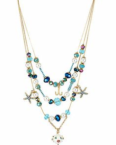 betsey johnson SHELL SHOCKED FISH SHELL ILLUSION NECKLACE MULTI