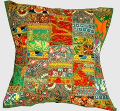 """24"""" Antic Patchwork Indian Pillow Cover Handmade Embroidery Vintage Home Decor"""