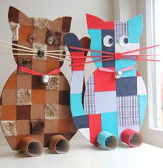 colorful cat toys for kids made out of cardboard and toilet paper rolls. DIY or craft for toddlers and preschoolers.