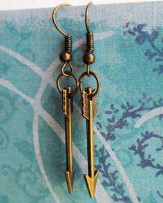 Katniss Arrow earrings hunger games jewelry disney brave Merida bronze charm. $4.70, via Etsy.