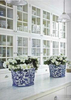 Full wall cupboards..... Fresh white gardenias placed into these pretty blue & white flower pots on the kitchen island...