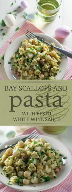 Simple Pesto White Wine Sauce with Bay Scallops   This perfect combination of garlic, white wine, pesto, and butter is utterly delicious! Great for all seafood lovers!   WorldofPastabilities.com