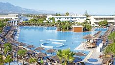 Blue Lagoon Resort (Hotel), Kos, Griekenland (via Fleur) Blue Lagoon Village, Blue Lagoon Hotel, Blue Lagoon Resort, Holiday Hotel, Holiday Resort, Greece Kos, Cheap Beach Vacations, Family Vacations, Kids Go Free
