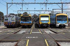 From left to right, a Hitachi, EDI - rebuilt Comeng, Xtrapolis and Siemens trains South Australia, Western Australia, Brisbane, Melbourne, Train Pictures, Tasmania, Train Station, Buses, Vr