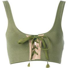 Fenty Lacing Long Bra ($105) ❤ liked on Polyvore featuring activewear, sports bras, green, puma sportswear, green sports bra, long sports bra, puma activewear and puma sports bra