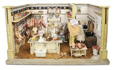 De Kleine Wereld Museum of Lier: 185 German Wooden Butcher Shop with Rare Meats