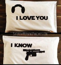 Han and Leia's pillow covers. Star Wars.