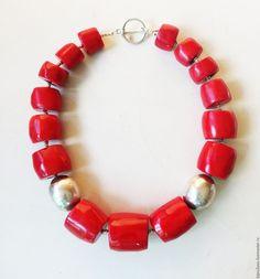 Купить Red коралловые бусы - ярко-красный, красный, красный цвет, красный коралл
