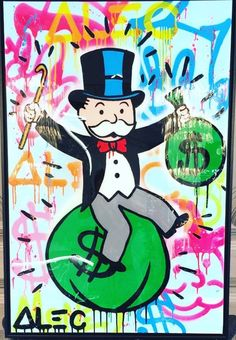 Money Bags - Monopoly, Alec (American, - ) Fine Art Reproductions, Oil Painting Reproductions - Art for Sale at Galerie Dada Monopoly Man, Trending Art, Cartoon Wallpaper Iphone, Oil Painting Reproductions, Art Google, Art For Sale, Character Art, Screen Printing, Modern Art