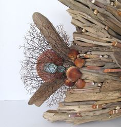 Driftwood Art Sculpture Fish Angelfish Shells by SandisShellscapes