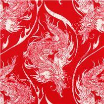 roter Ninja Dragon japanische Drachen Ryu Stoff Riley Blake Year Of The Ninja für Laurena?