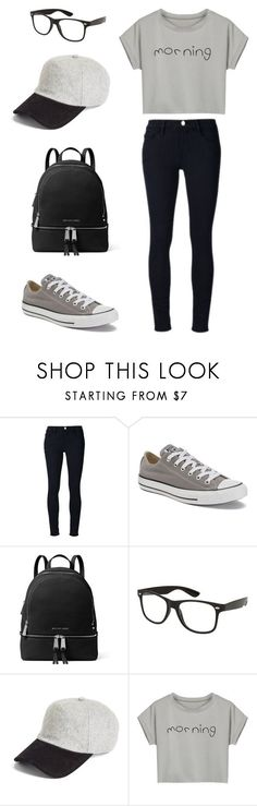 """School outfit"" by sarahaider ❤ liked on Polyvore featuring Frame Denim, Converse, MICHAEL Michael Kors, rag & bone and WithChic"