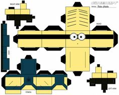 Personally I love the Minions and I wanted an army of my own. Well now I can do just that hahahahaha :D All these printables and crafts will assist me in my goal of a Minion army, especially the cu… Despicable Me Crafts, Despicable Me Party, Minions Despicable Me, Minion Party, Minion 2, Minion Craft, Paper Models, Cute Characters, Paper Toys