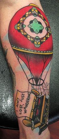 Hot Air Balloon Typewriter By Heath Nock Hot Air Balloon, Typewriter, Cool Tattoos, Tatting, Balloons, Ink, Umbrellas, Artwork, Clouds