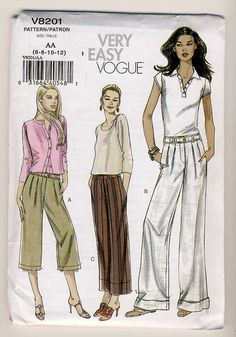 Vogue 8201 Misses Very Easy Mock Fly Pants 3 by Noahslady4Patterns