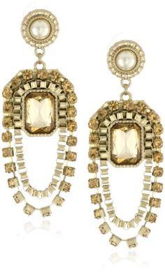 "Jessica Simpson ""Gia Gold"" Double Drop Chandelier Earrings   $38"