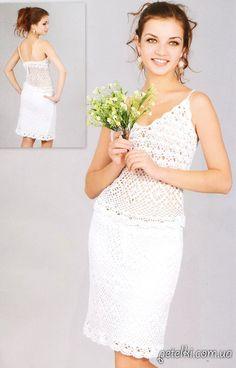 Нарядный ажурный комплект из юбки и маечки. Описание, схемы, выкройки