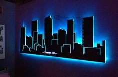 Here at Customized Designs we love skylines so we jumped at the opportunity to create an led lighted skyline of Denver, CO. This particular skyline is - LED Lighted Denver Skyline Wall Art Light Wall Art, Wood Wall Art, Wall Art Decor, Wall Art With Lights, Wall Art Designs, Wall Design, Skyline Art, Denver Skyline, Interior Led Lights