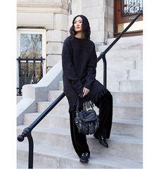 78e16cdcc Alexander Wang. Fringed sweater. Wide leg velvet trousers. Holt Renfrew,  Fallen Book
