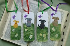 Hand Painted Bookmark Dog Gold Yellow Grey by bunnyhutchdesigns, $4.50