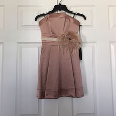 Bebe blush pink A Line dress Remove able feather bow in excellent condition bebe Dresses