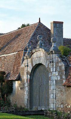 Portail du prieuré d'Orsan, Cher, France  http://weathertightroofinginc.com #rooftile #decorativerooftile #rooftiles