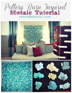 •❈• Pottery Barn Inspired Mosaic Tutorial by Remodelaholic #CraftsDIYSerendipity #crafts #diy #projects #tutorials Craft and DIY Projects and Tutorials