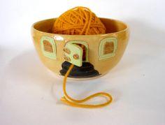 Yellow House Ceramic Yarn Bowl by Uturn on Etsy, $38.00  #yarnbowl  #knittingbowl  #LeslieHagen