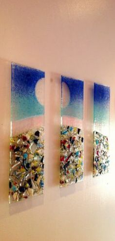 THE BEACH HUGE PIECE OF FUSED GLASS WALL ART 300m