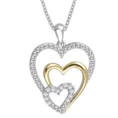 Silver Heart Necklace 1/10 cttw. Diamond Two-Tone Sterling Jewelry Women Lover #SilverHeartNecklace