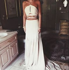 A-Line Halter Sleeveless Natural Backless Satin Chiffon Prom