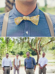 groom in chambray shirt, bow tie, & suspenders