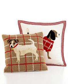 "Martha Stewart Collection Bedding, Dogs Applique Jack Russell 18"" Square Decorative Pillow - Bedding Collections - Bed & Bath - Macy's"