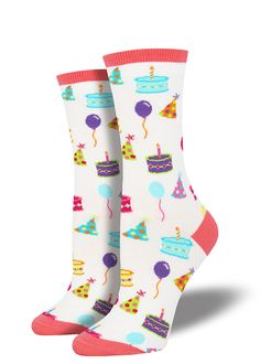 98bd3504b Birthday socks for women feature birthday cake