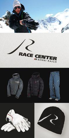 Projet : Identité visuelle / Stratégie de marque Client : Benjamin Raich / Olympic gold medalist Marque : Race center Agence : Birds communication  #logo #sport #wear #clothing #ski #neige