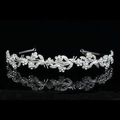 Floral Bridal Headpiece Rhinestone Crystal Prom Wedding Tiara Headband V630 #Headband