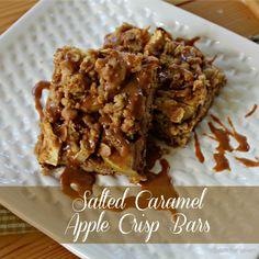 table for seven: Salted Caramel Apple Crisp Bars #SundaySupper