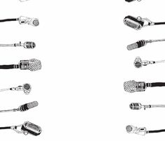 old microphones, black fabric by lorose on Spoonflower - custom fabric