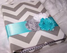 Guest Book- Bridal Shower,Baby Shower or Birthday Party, Grey Chevron fabric, Turquoise/Aqua and Gray, Custom Colors available