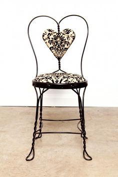The same iron chairs I have... I never thought to make a cushion using the heart.