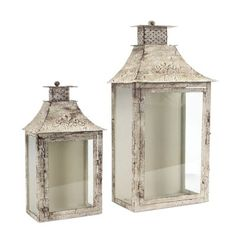 Shop Antiqued Cream Distressed Metal Wall Lantern Set of 2 and Tall by Melrose International : Lanterns Lanterns Decor, Candle Lanterns, Glass Candle, Candle Sconces, Pillar Candles, Candleholders, Candlesticks, Lantern Set