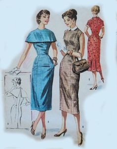 Vintage McCalls :3717 1950s Slim Dress With by AltasPatternCloset