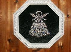 Lots Vintage Rhinestone Jewelry,Christmas Tree Art Angel,Framed,One of a Kind