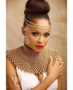 Former Beauty Queen Tomi Salami channels her Inner Grecian Goddess in New Photos to Mark her Birthday Today! Former Beauty Queen Tomi Salami channels her Inner Grecian Goddess in New Photos to Mark her Birthday Today! African Necklace, African Beads, African Jewelry, African Print Fashion, African Fashion Dresses, Fashion Prints, African Attire, African Dress, African Style