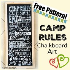 Easy to make Camp Rules Chalkboard Art with a free pattern!