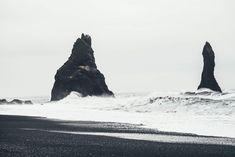 Reynisdrangar and the Black Sand Beach at Vik, Iceland Landscape Photography, Nature Photography, Mountain Photography, Beach Photography, Hd Photos, Stock Photos, Mario, Free High Resolution Photos, Equador
